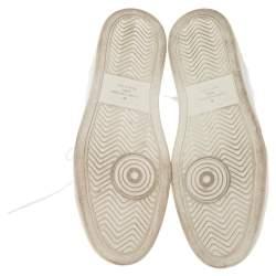 Louis Vuitton White Leather, Fabric and Monogram Canvas Rivoli Sneakers Size 42.5