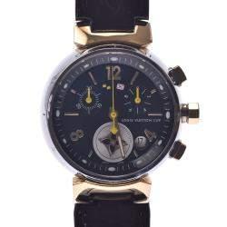 Louis Vuitton Black Stainless Steel Tambour Chrono LV Cup Q1325 Quartz Men's Wristwatch 31 MM