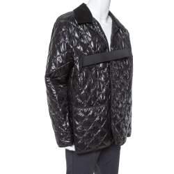 Maison Martin Margiela Black Synthetic Quilted Belted Oversized Jacket M