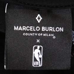Marcelo Burlon Black Cotton NY Knicks Print Mesh Panel T Shirt L