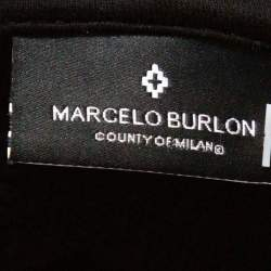 Marcelo Burlon Black Color Band Print Cotton Hoodie M