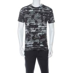 McQ by Alexander McQueen Brown and White Worn Striped Cotton T Shirt M