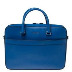 Michael Kors Atlantic Blue Leather Harrson Briefcase