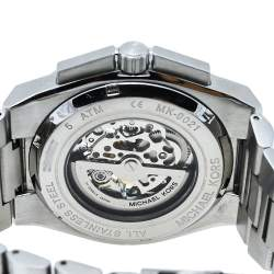 Michael Kors Grey Stainless Steel Transparent Wilder Skeleton MK9021 Men's Wristwatch 44 mm