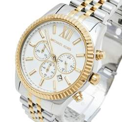 Michael Kors Silver Two-Tone Stainless Steel Oversized Lexington MK8344 Men's Wristwatch 45 mm