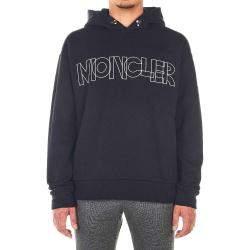 Moncler Black Cotton Blend Sweater Logo Size L