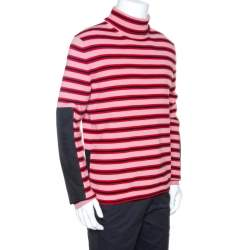 Moncler Grenoble Red Striped Wool Patch Detail Sweater L
