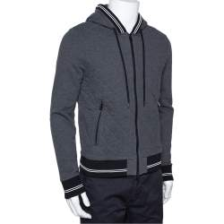 Moncler Grey Diamond Quilted Cotton Zip Front Hoodie L