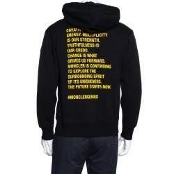 Moncler Black Printed Cotton Hooded Sweatshirt M