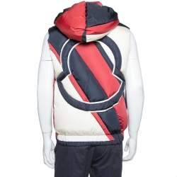 Moncler Tricolor Synthetic Down Filled Sleeveless Hooded Puffer Gilet S