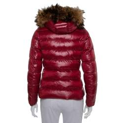 Moncler Burgundy Synthetic Down Fur Lined Hooded Puffer Jacket S