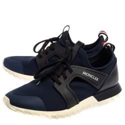 Moncler Blue Neoprene Emilien Lace Up Sneakers Size 44