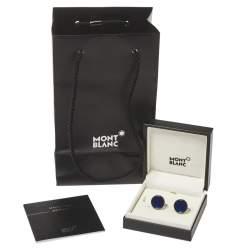 Montblanc Silver Tone & Blue Glass Round Star Cufflinks
