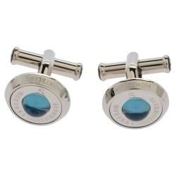 Montblanc Stainless Steel & Blue Sunstone Urban Spirit Round Cufflinks