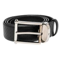 Montblanc Black Perforated Leather Contemporary Line Buckle Belt