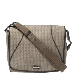 MontBlanc Brown Coated Canvas and Leather Flap Messenger Bag