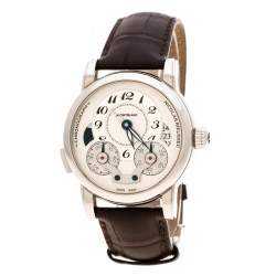 Montblanc Silver White Stainless Steel Nicolas Rieussec 7138 Men's Wristwatch 42 mm