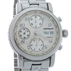Montblanc Silver White Stainless Steel Meisterstuck 7016 Men's Wristwatch 37 mm