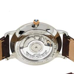 Montblanc Silver White 18K Rose Gold Stainless Steel Leather Star Classique Men's Wristwatch 39MM