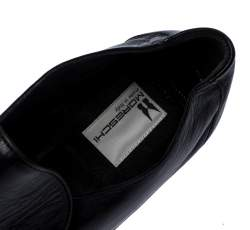 Moreschi Black Leather Wide Loafers Size 41