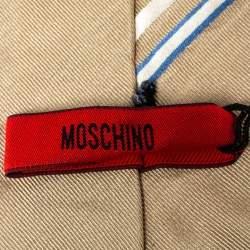 Moschino  Light Brown Diagonal Stripe Detail Silk Tie