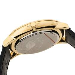 Movado Black Gold Tone Stainless Steel Leather Ultra Slim 0607087 Men's Wristwatch 40 mm