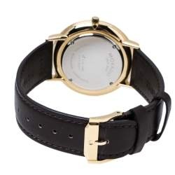 Movado Blue Gold Tone Stainless Steel Leather Ultra Slim 0607088 Men's Wristwatch 40 mm