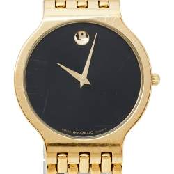Movado Black Gold Plated Stainless Steel Esperanza Men's Wristwatch 32.50 mm