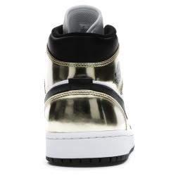 Nike Jordan 1 Mid Metallic Gold Black White Sneakers US 6Y EU 38.5