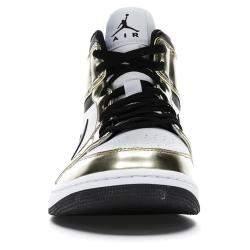 Nike Jordan 1 Mid Metallic Gold Black White Sneakers US 6.5Y EU 39