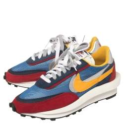 Nike x Sacai Multicolor Mesh And Suede Vaporwaffle Low Top Sneakers Size 40.5