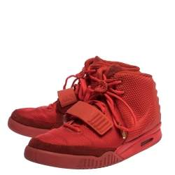 Nike Air Yeezy Red Suede, Nylon And Rubber October High Top Sneakers Size 44