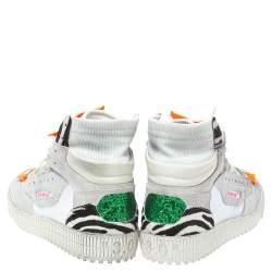 حذاء رياضي أوف وايت مرتفع أعلى أوف هورت كانفاس وجلد سويدي ثلاثي اللون مقاس 41