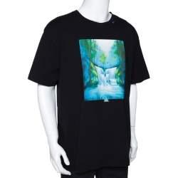 Off-White Black Cotton Waterfall Print Round Neck T Shirt S