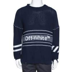 Off White Navy Blue Logo Intarsia Knit Distressed Jumper S