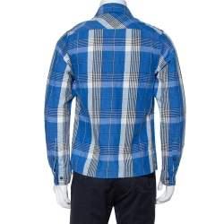 قميص أوف وايت كتان قطن كاروهات أزرق XS