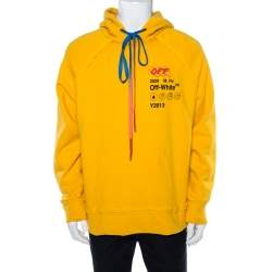 Off-White Yellow Industrial Y013 Print Cotton Hoodie XS