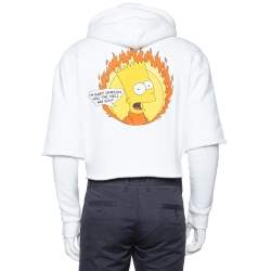 Off-White White Cotton Flamed Bart Double Sleeve Detail Hoodie XS