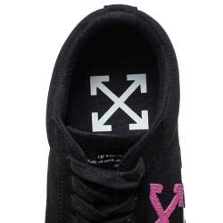 Off White Black Canvas And Suede Vulcanized Low Top Sneakers Size 42