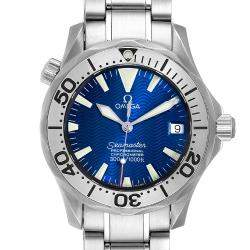 Omega Blue Stainless Steel Seamaster 2553.80.00 Men's Wristwatch 36 MM