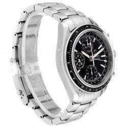 Omega Black Stainless Steel Speedmaster Day-Date Chronograph 3220.50.00 Men's Wristwatch 40 MM