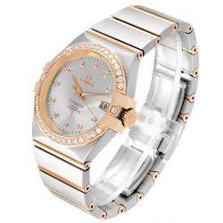 Omega Silver Diamonds 18K Rose Gold And Stainless Steel Constellation 123.25.35.20.52.001 Men's Wristwatch 35 MM