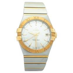 """ساعة يد رجالية أوميغا """"كونستلاشون 123.20.35.60.02.002"""" ستانلس ستيل و ذهب أصفر عيار 18 فضية 35 مم"""