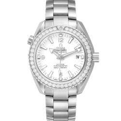 Omega White Diamonds Stainless Steel Seamaster Planet Ocean 600M 232.15.42.21.04.001 Men's Wristwatch 42 MM