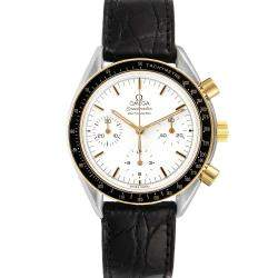 Omega White 18K Yellow Gold And Stainless Steel Speedmaster Chronograph 3310.20.00 Men's Wristwatch 39 MM