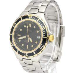Omega Black 18K Yellow Gold And Stainless Steel Seamaster Professional 396.1042 Men's Wristwatch 36 MM