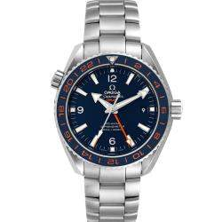 Omega Blue Stainless Steel Seamaster Planet Ocean GMT 232.30.44.22.03.001 Men's Wristwatch 44 MM