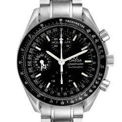 Omega Black Stainless Steel Speedmaster Day-Date Chronograph 3520.50.00 Men's Wristwatch 39 MM