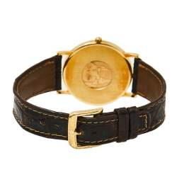 Omega Vintage White 18K Yellow Gold & Leather De Ville 195.2378 Men's Wristwatch 32 mm