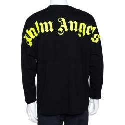 Palm Angels Black Logo Print Cotton Long Sleeve T-Shirt M